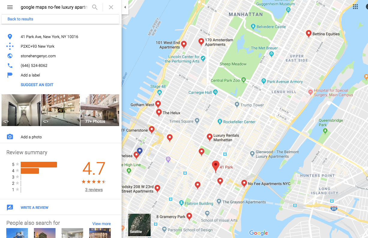 How to use Google Maps to find a no-fee apartment in NYC