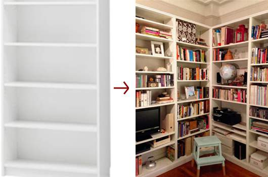 Mayra Got The Built In Bookcase Look By Combining And Customizing Four 5999 Ikea Bookcases It Cost About A Quarter As Much Professional Ins