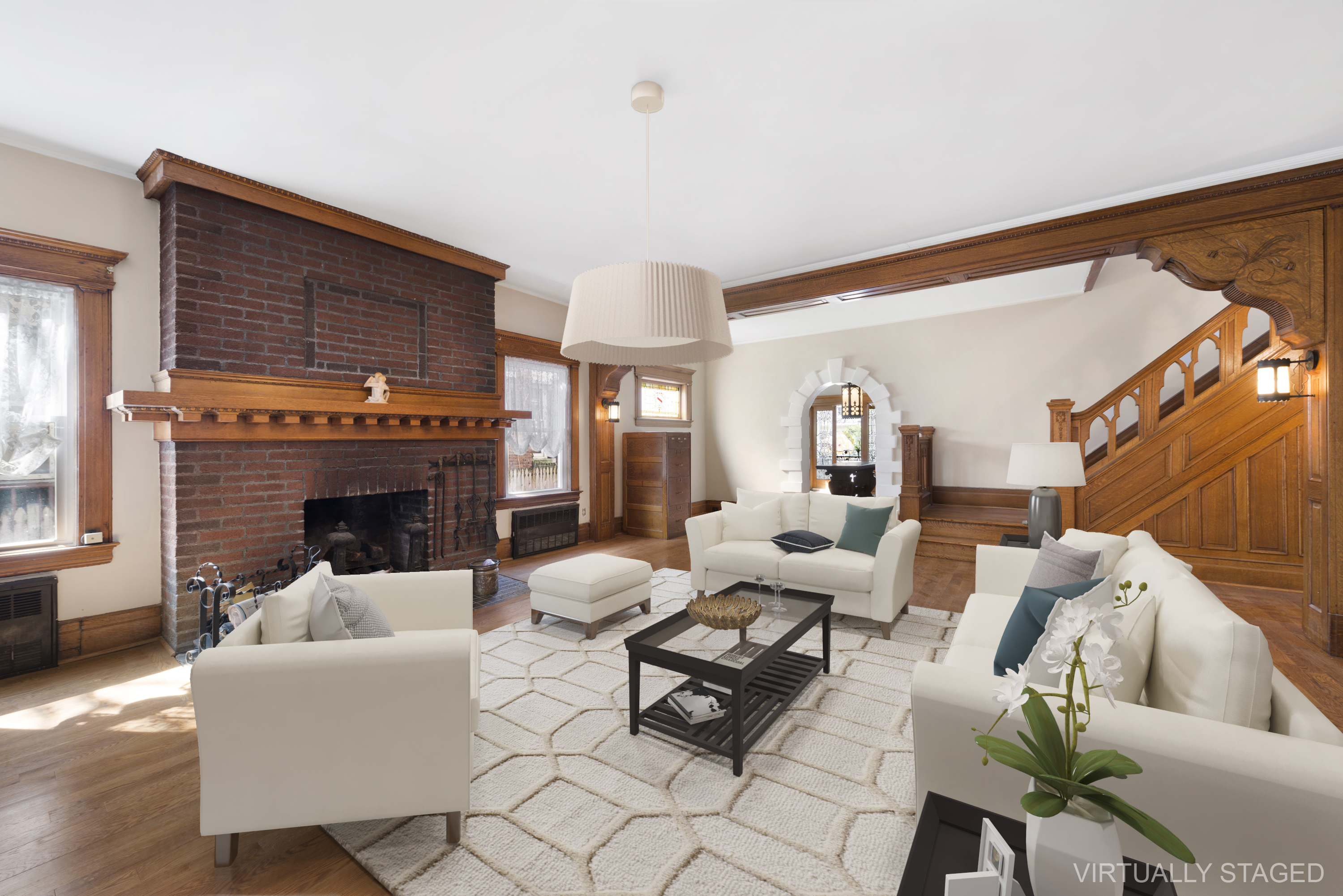 ... Private Driveway And A Huge, Welcoming Living Room With A Wood Burning  Fireplace (one Of Four In The Home), Oak Mantle, Oak Flooring, Wood  Moldings, ...