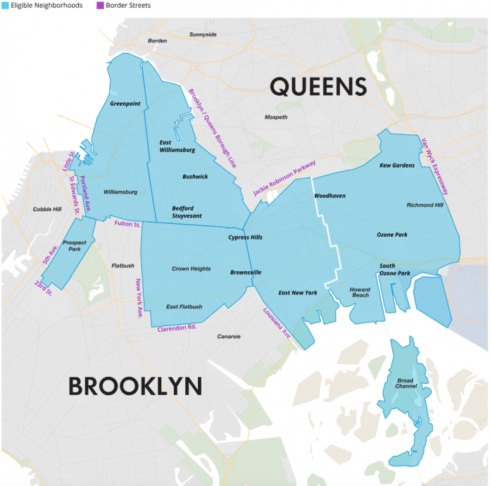 A map of eligible neighborhoods. Con Edison