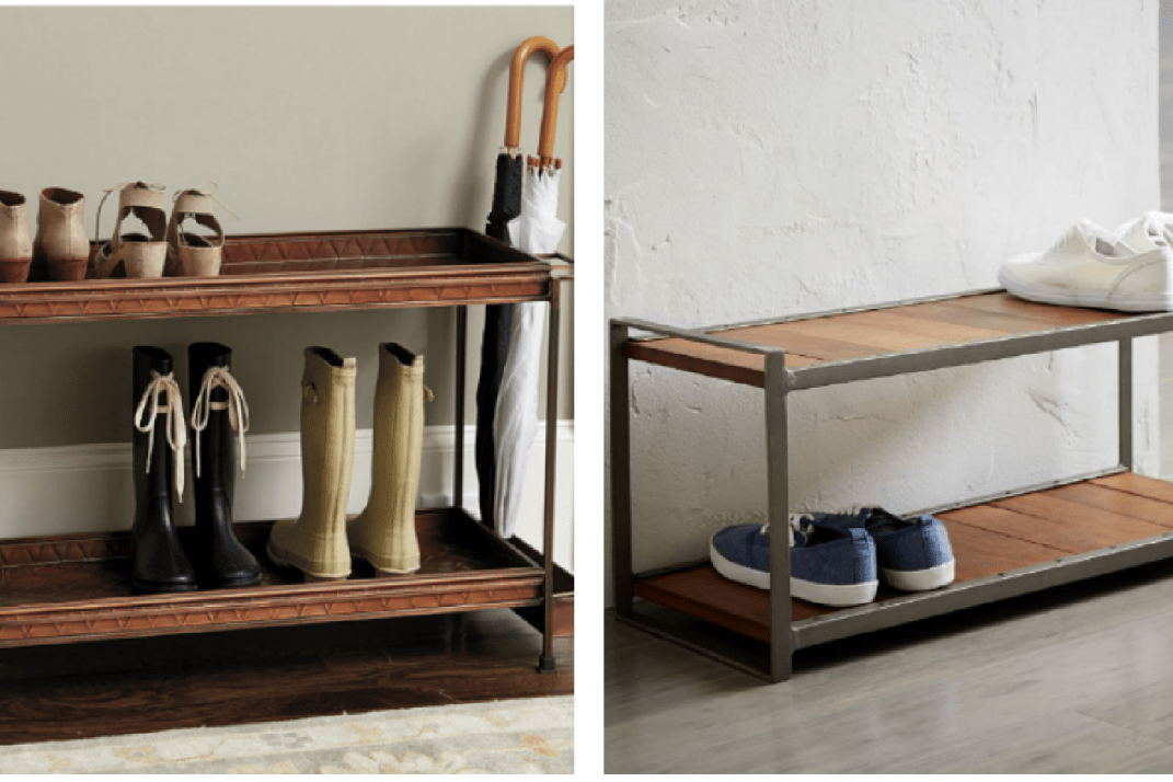 b8df8ee9f3e A shoe rack with enough space for boots from Ballard Designs, left, and a  mango wood and steel frame rack from West Elm.