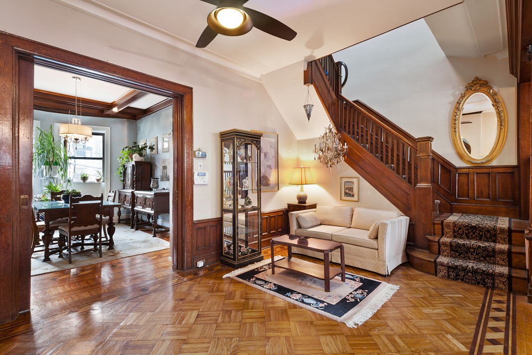 This Limestone Bay Ridge Townhouse Is A Symphony Of Oak Floors Stained Glass And Other Historic Details