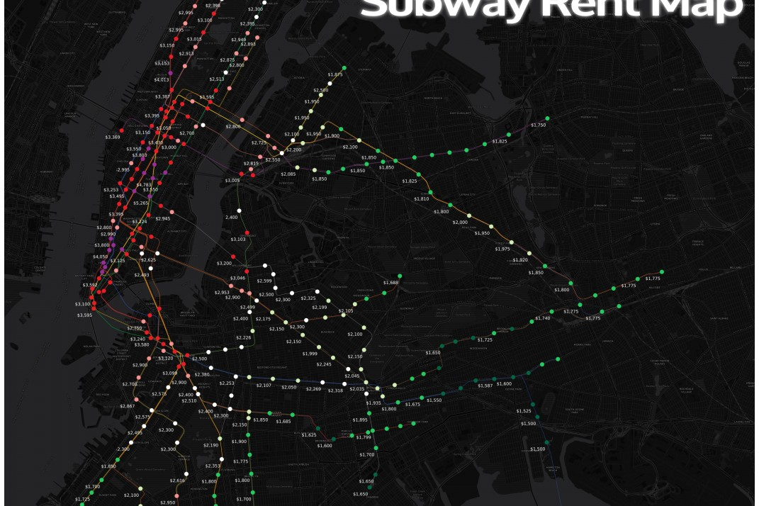 Subway Map Rent.Map Find The Median Rent Of A One Bedroom Near Your Nyc Subway Stop