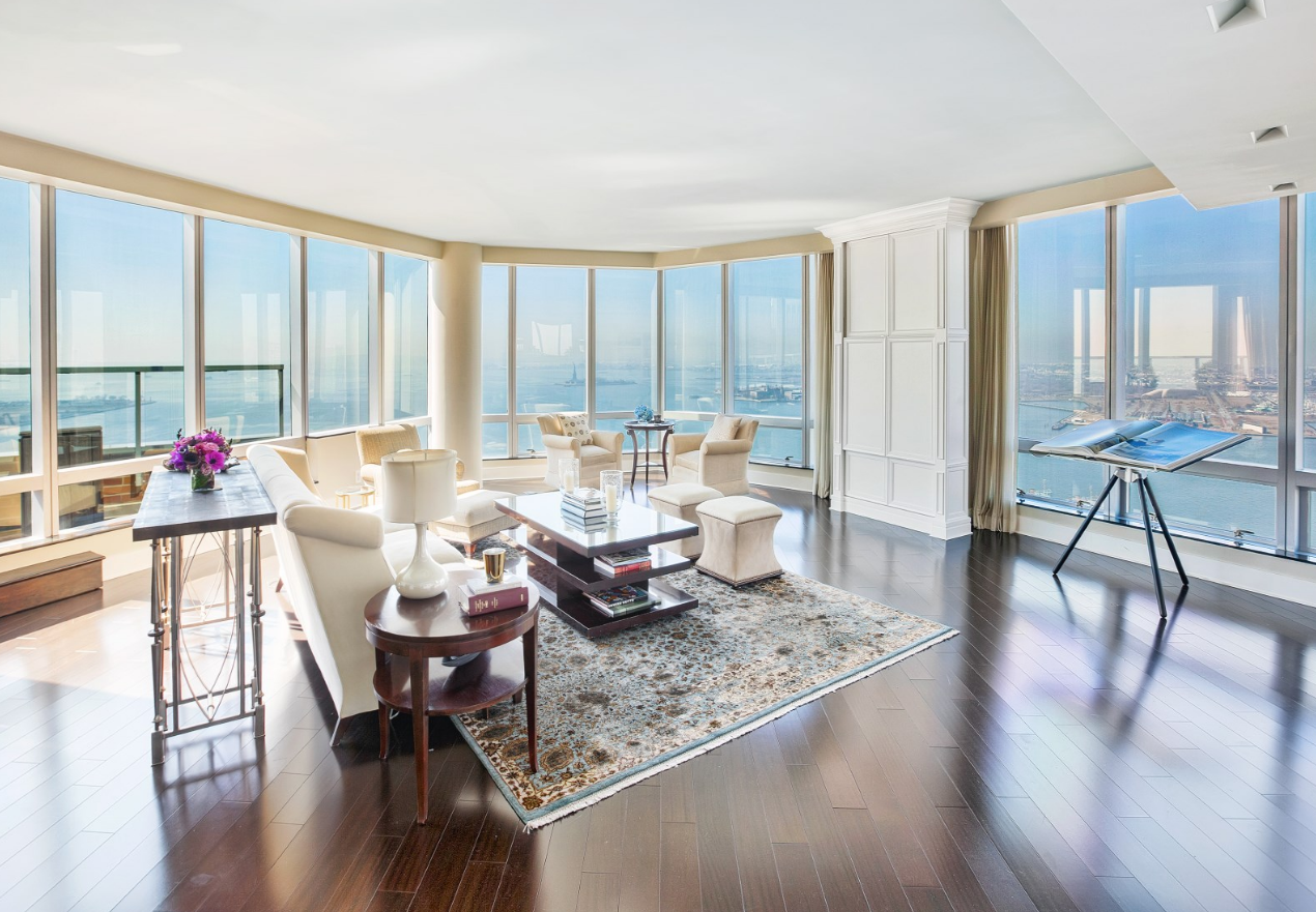 With Views Of New York Harbor The Statue Liberty And Ellis Island This Four Bedroom Five Bath Condo At 10 Little West Street On Market For