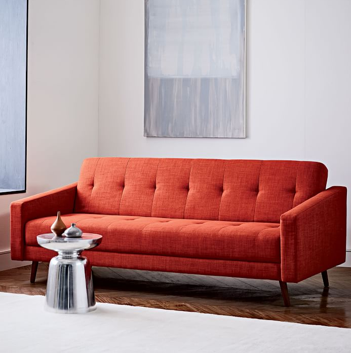 West Elm S Kiko Futon Sofa 899 On As Of This Writing For 629 Is A Far Cry From Collegiate Pine Framed Futons Yore Sporting Sleek