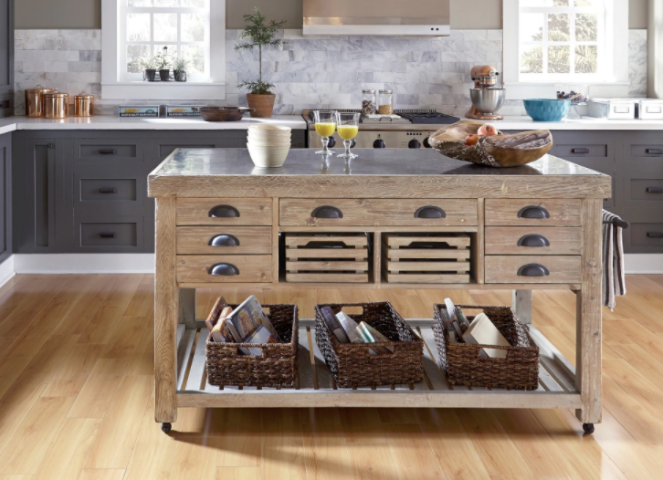 ... Option (or One That Can Hold Its Own In A Massive Kitchen), The Kosas  Home Deni Washed Grey Blue Stone And Reclaimed Pine Kitchen Island  ($1,699.49, ...