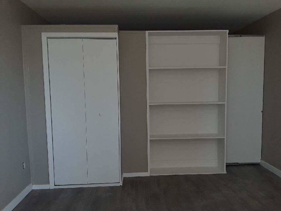 This Bookcase Closet Combo From Wall 2 NY Uses A Sliding Door Which Does Not Have Frame Unlike Pocket Doors The Attaches To And